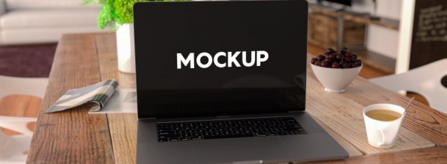 Home Office Laptop Mockup PSD