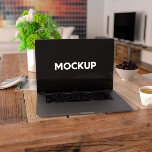 Home Office Laptop Mockup PSD