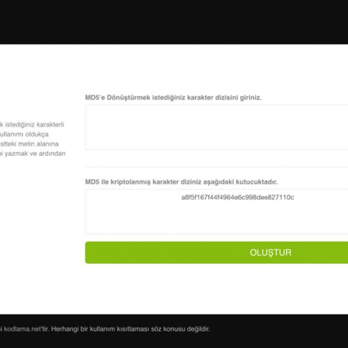 PHP MD5 Oluşturma Scripti