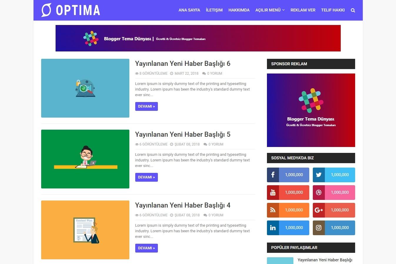 Optima Blogger Teması (Türkçe)